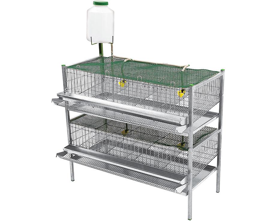 Cage pour cailles pondeuses 2 étages 8 compartiments