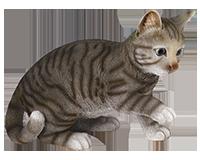 Chat jouant gris en résine