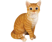 Chat assis roux en résine