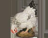 Poule blanche picorant en résine