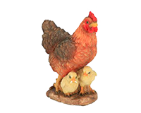 Poule et poussins petit en résine